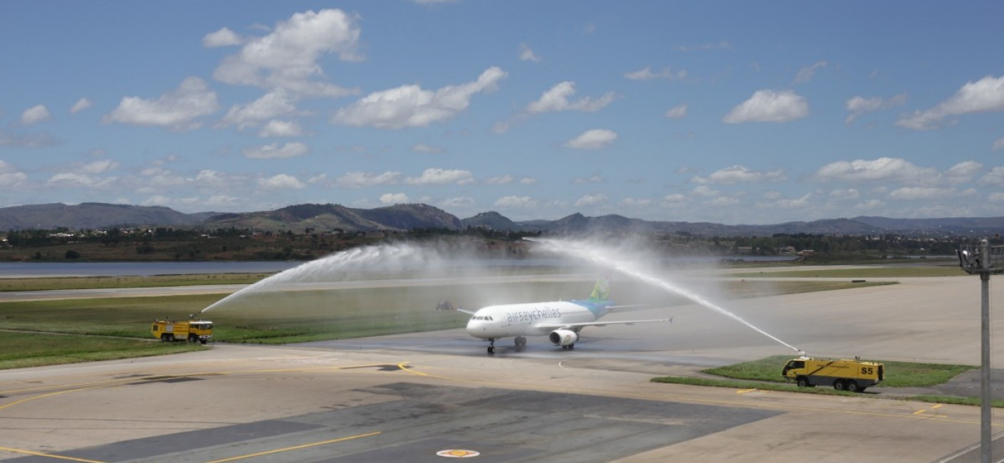 Air Seychelles' inaugural flight to Madagascar is greeted by a traditional water cannon salute upon arrival