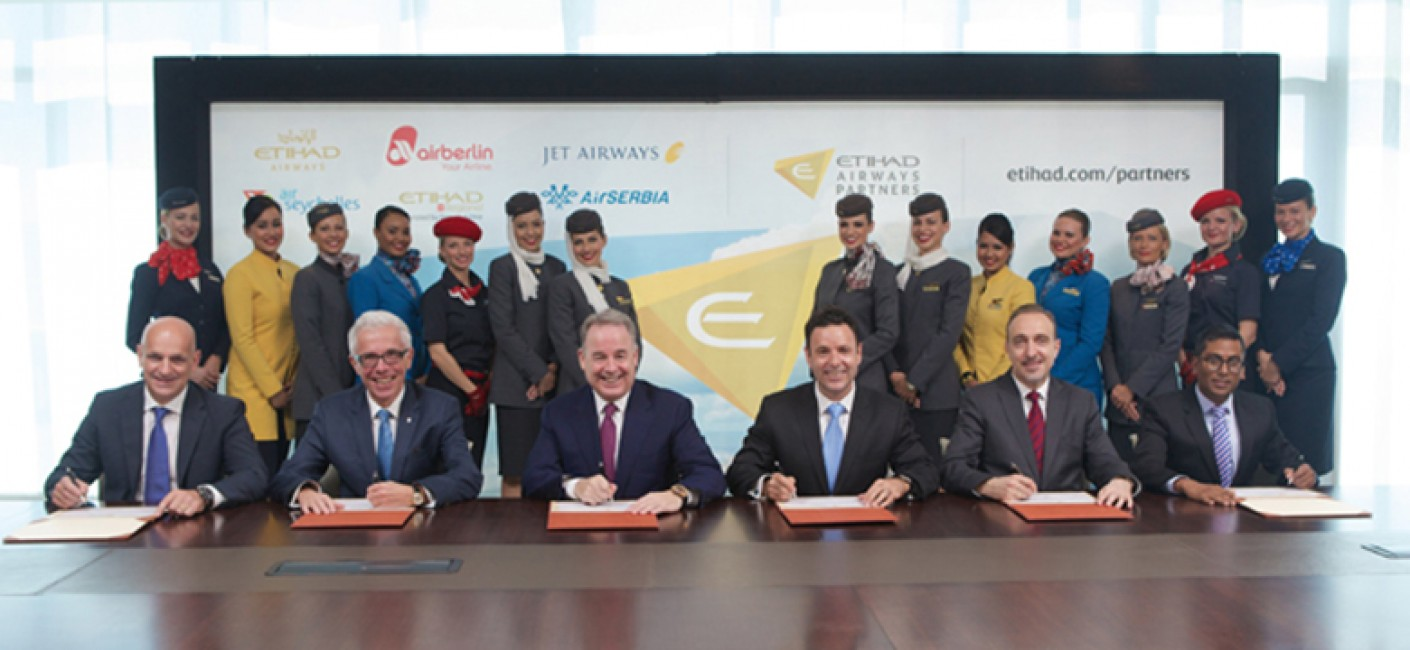 (Left to right): Maurizio Merlo, CEO Darwin Airline; Wolfgang Prock-Schauer, CEO airberlin; James Hogan, President and CEO Etihad Airways; Cramer Ball, CEO Jet Airways; Dane Kondic, CEO Air Serbia, Manoj Papa, CEO Air Seychelles;celebrate the launch of Etihad Airways Partners